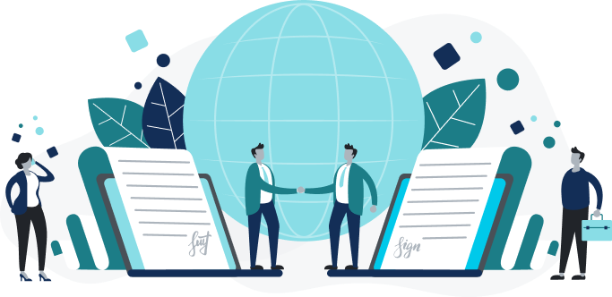 Illustration of handshake and sponsors